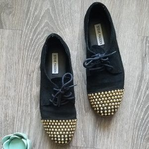Steve Madden Jazzhan Gold Studded Suede Oxfords